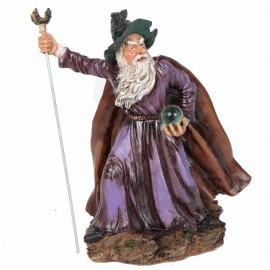 Statue en résine de Merlin au bâton - 30 cm