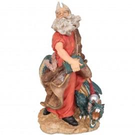 Statue de Merlin chevauchant le dragon vert avec le livre - 33 cm
