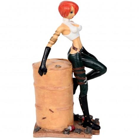 STATUE pin-up manga femme au tonneau en résine - 23 - cm