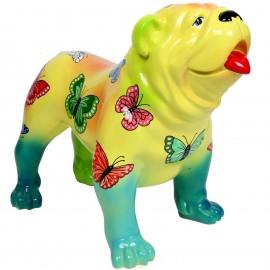 Statue en résine CHIEN bouledogue anglais décor papillons - Jack - 90 cm