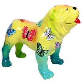 Statue en résine CHIEN bouledogue anglais décor papillons - 90 cm