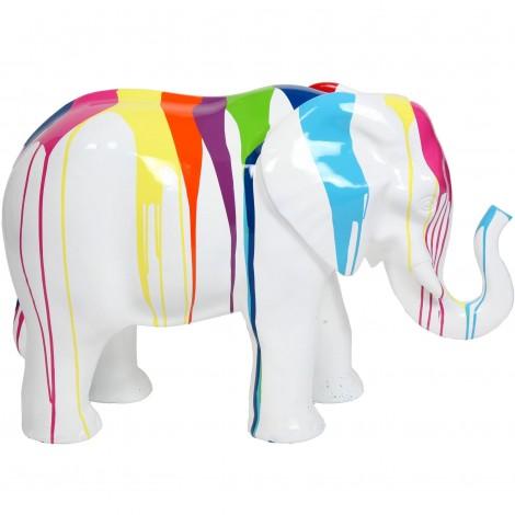Statue en résine éléphant multicolore fond blanc- Raoul - 86 cm
