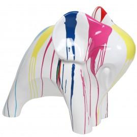 Statue en résine éléphant design multicolore fond blanc - Julien - 80 cm