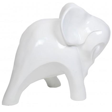 Statue en résine éléphant design blanc - Jacob - 80 cm
