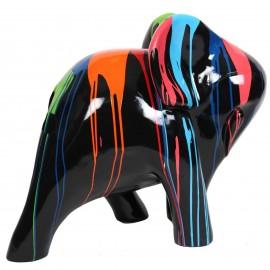 Statue en résine éléphant design multicolore fond noir - John - 80 cm