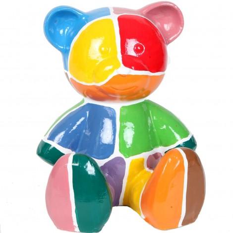 Statue Ours multicolore en résine motifs géométrique - Luc - 35 cm