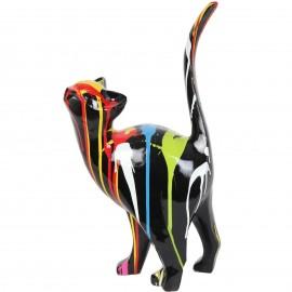 Statue en résine CHAT origami multicolore fond noir - 46 cm