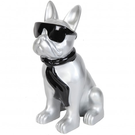 Statue chien bouledogue Français à lunette en résine argent et noir - Polo - 37 cm