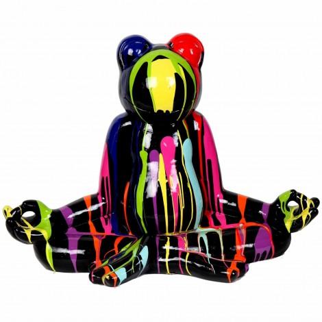 Statue en résine grenouille zen multicolore fond noir - 72 cm