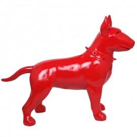 Statue CHIEN bull terrier rouge en résine - 110 cm