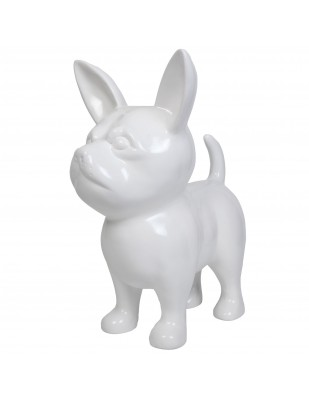 Statue CHIHUAHUA blanc en résine - 90 cm