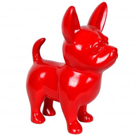 Statue CHIHUAHUA rouge en résine - 53 cm