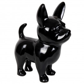 Statue CHIHUAHUA noir en résine - 53 cm