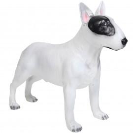 Statue en résine bull terrier robe blanche - 80 cm