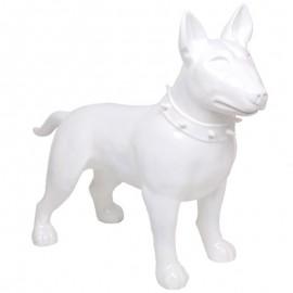 Statue CHIEN bull terrier blanc en résine - 110 cm