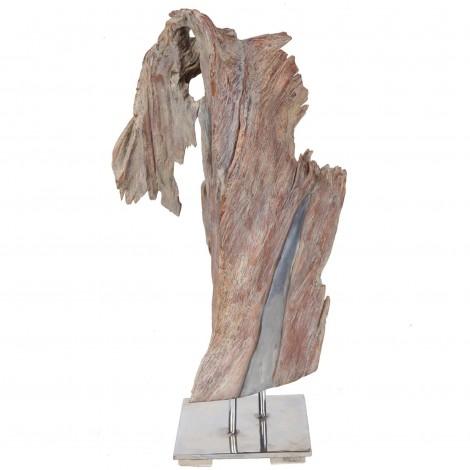 Statue sculpture en bois naturel et acier - 65 cm
