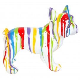 Statue chien bouledogue Français multicolore fond blanc en résine - Rémi - 27 cm