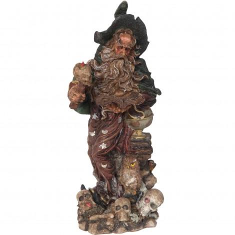 Statue en résine de Merlin et le hiboux - 30 cm