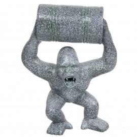 Statue en résine Donkey Kong gorille singe tonneau façon granit -Doris- 70 cm