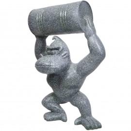 Statue en résine Donkey Kong gorille singe avec tonneau façon granit -Maxime- 100 cm