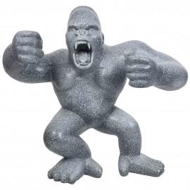 Statue en résine Donkey Kong gorille singe debout façon granit Arthur - 120 cm