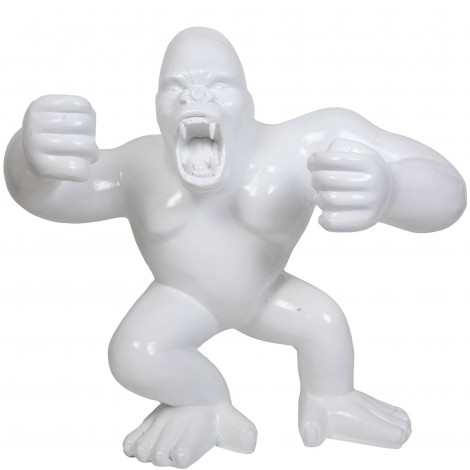 Statue en résine Donkey Kong gorille singe debout blanc Jean - 120 cm