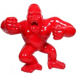 Statue en résine Donkey Kong gorille singe debout rouge Adrien - 120 cm