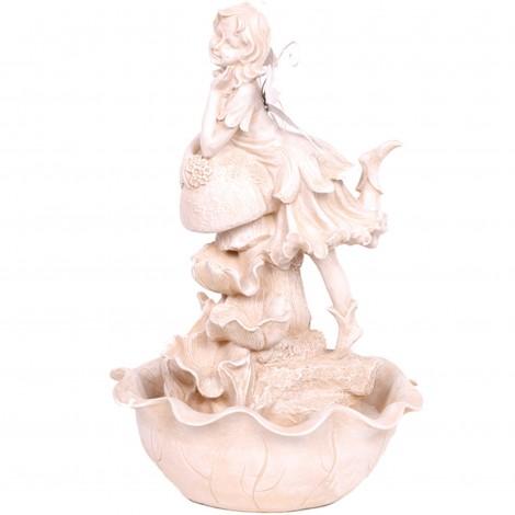 Fontaine en résine électrifiée statue elfe plusieurs nivaux - 40 cm