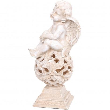 Statue en résine blanche ange penseur 42 cm