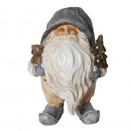 Père noël avec sapin et ours statue en résine 14 cm