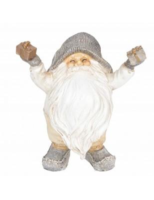 Père noël cadeaux dans les mains statue en résine 14 cm