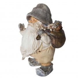 Père noël avec sa hotte pleine de cadeaux statue en résine 14 cm