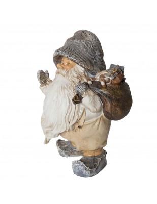 Père noël statue en résine hotte a jouet dans le dos 20 cm