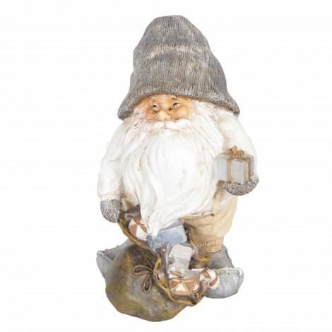 Père noël statue en résine hotte pleine de cadeaux 20 cm