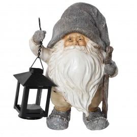 Père noël a la lanterne porte bougie statue en résine 20 cm