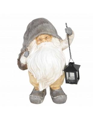 Père noël statue en résine hotte pleine de cadeaux et lanterne porte bougie  30 cm