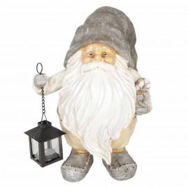 Père noël statue en résine lanterne en fer porte bougie 30 cm