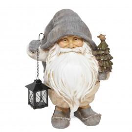 Père noël statue en résine sapin lanterne en fer porte bougie 40 cm