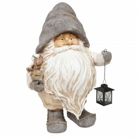 Père noël statue en résine multicolore lanterne porte bougie en fer 70 cm