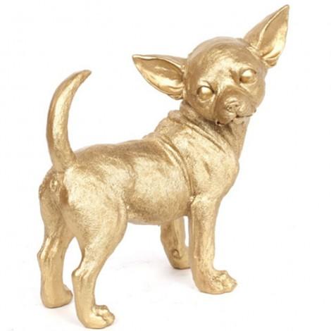 Statue CHIEN chihuahua doré - 30 cm