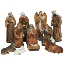 Crèche de noël en résine 12 sujets personnages animaux 20 cm