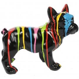 Statue chien bouledogue Français en résine multicolore  fond noir 27 cm