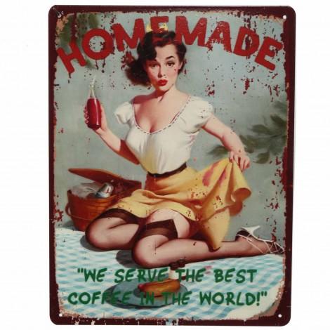 Plaque tôle publicitaire en fer pin-hup home made 33 cm