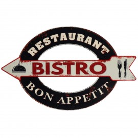 Plaque tôle publicitaire en fer bistro restaurant 60 cm