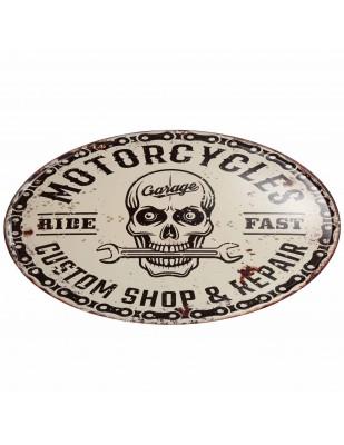 Plaque tôle publicitaire murale en fer Motors cycles 56 cm