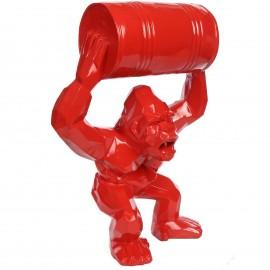 Gorille tonneau agressif statue rouge en origami 67 cm