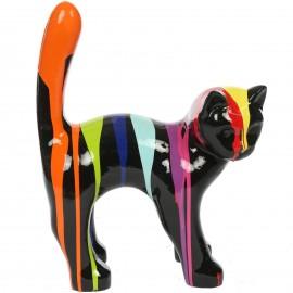 Statue chat en résine que droite multicolore fond noir 35 cm