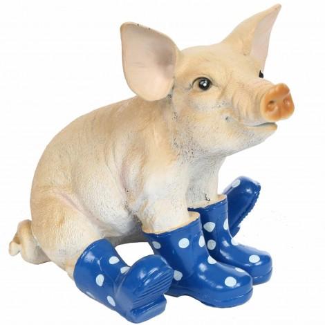 Statue résine cochon bottes bleu 30 cm