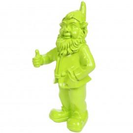 Statue en résine nain de jardin vert pouce levé 50 cm