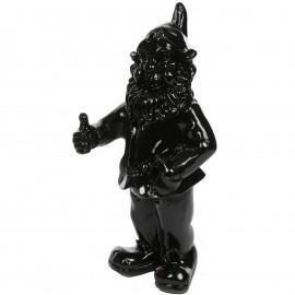 Le nain de jardin Ok ou pouce levé statue en résine noire 50 cm